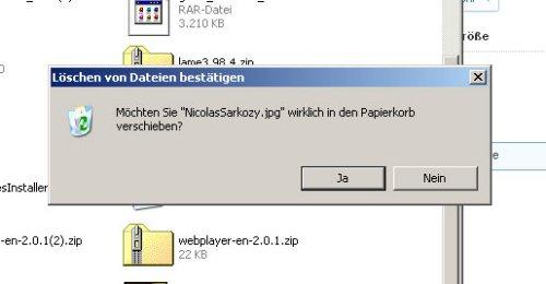"""Möchten Sie """"NicolasSarkozy.jpg"""" wirklich in den Papierkorb verschieben?"""