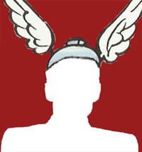 Umriss eines Mannes mit Asterix-Flügelhelm