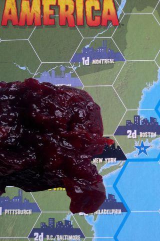 Ein Blob aus Kirschmarmelade auf der USA-Karte
