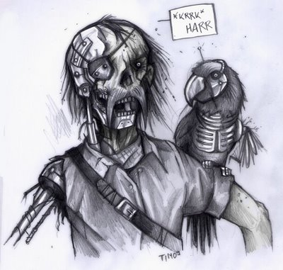Zombie-Piraten-Cyborg mit einem Zombie-Cyborg-Papagei auf der Schulter