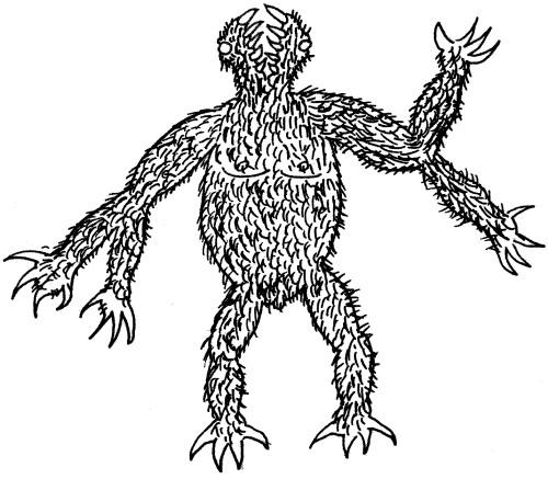 Ein Gug: Von kurzem schwarzem Haar bedeckte menschenähnliche Kreatur mit Krallen, zwei Unterarmen an jedem Arm und einem vertikalen Maul.
